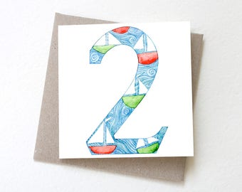 Number 2 Toy Boats // Second Birthday Card, No. 2 Card, Age 2, Colourful Card, Boats, Childrens Card