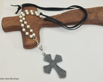 Pewter Cross Necklace/Leather Long Necklace/Pearl Bead Chain/Soft Dark Brown Leather/Bohemian Jewelery/Gift for Her/Adjustable Length
