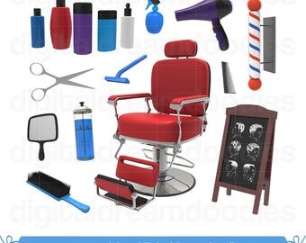 Barber Clipart, Haircut Clipart, Barber Shop Clip Art, Salon Graphic, Hairdresser Chair Image, Scissor PNG, Comb Scrapbook, Digital Download