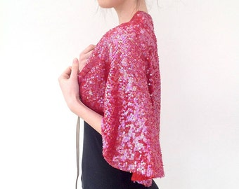 1920s cape shawl wrap pink sequinned Art Deco vintage antique