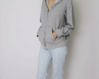 Vintage 1970s Grey Sweatshirt | Grey Zip up Sweatshirt | Hoodie Sweatshirt