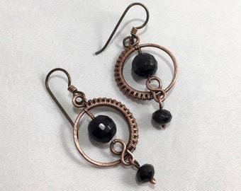 Black Onyx Earrings - Hypoallergenic Earrings - Antiqued Copper Earrings - Niobium Earrings - Wire Wrapped - Black Earrings