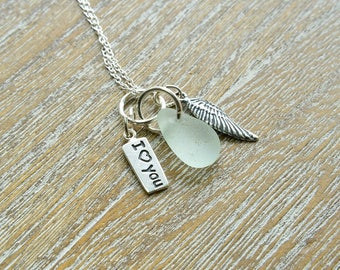 Memory Necklace, Angel Wing Necklace, Miscarriage Necklace, Sea Glass Jewellery, Angel Baby Necklace, Sterling Silver , Baby Loss Jewellery