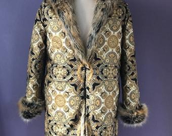 NEW! Golden Sultan Tales Faux Fur Festival Faux Fur Bohemian Tribal Clothing Playa Coat Jacket Men's Fur Hippie  Coat