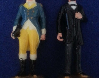 """MARX PRESIDENTS: Washington and Lincoln - 1960s 1st & 16th 2.75"""" Hand Painted Figures"""