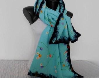 Light Blue-Green Silk Wrap, Silk Scarf with Felt, Multicolor Nuno Felted Wrap, Felting Merino Shawl, Nuno Felt Shawl, Floral Merino Wrap