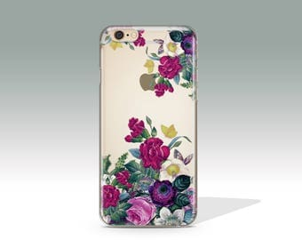 iPhone 7 Case Clear Floral iPhone 7 Plus Case  Flowers iPhone 6 Plus Case iPhone 5S Case iPhone 6 Case iPhone 6S Silicone iPhone Case //294