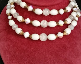 Vintage Three Strand Beaded Necklace