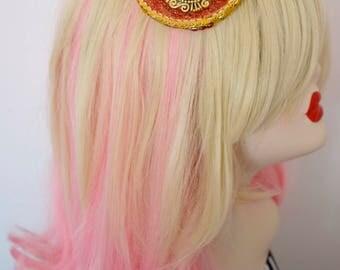 Fascinator Bibi Bijou Baroque Hat Camée Camey Gold Red