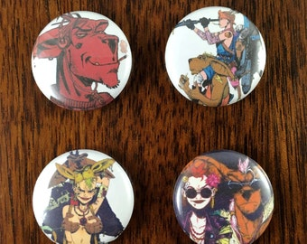 """Booga Tank Girl Comic 1"""" Pin Back Buttons and Magnets Set of 4"""