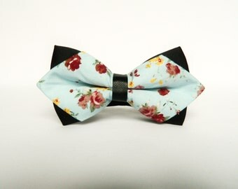 Men's floral pastel blue diamond tip bow tie floral Pre-tied bow tie gift for men diamond tip wedding pastel blue floral bow tie