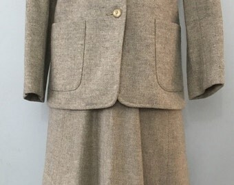 Vintage 1970's Intuitions by Maurice Antaya Wool Skirt Suit, Size XS/Small.
