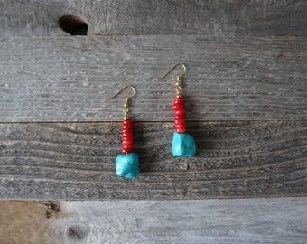 Red and Turquoise Stone Drop Earrings, Dangle Earrings, Turquoise Nugget Earrings, Red and Gold, Turquoise Howlite, Handmade Earrings
