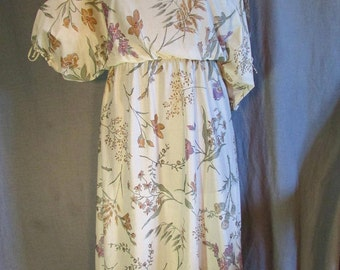 1970s Slouchy Open Shoulder Dress Ragtime Lightweight Knit Gauze Floral Dress with Border | Size Small or 6