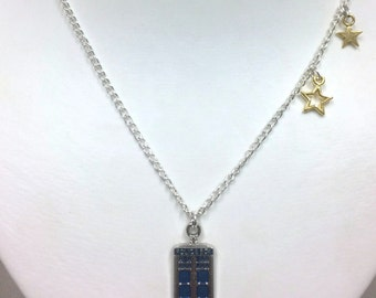Doctor Who Inspired Necklace - Tardis and Stars