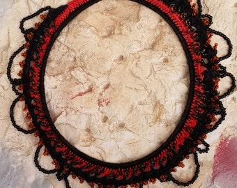 Crochet collar necklace, Bohemian crochet necklace, Unique necklace crochet, Black orange necklace, Boho crochet necklace,