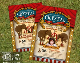 Circus Birthday Invitation Vintage Circus invite carnival birthday invitation printed retro circus elephants sideshow big top tent photo