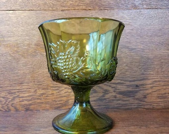 70's Vintage Green Glass Bowl- Pedestal Candy Dish- Grape and Leaf Design- 1970's Vintage Decoration and Decor- Indiana Glass Company