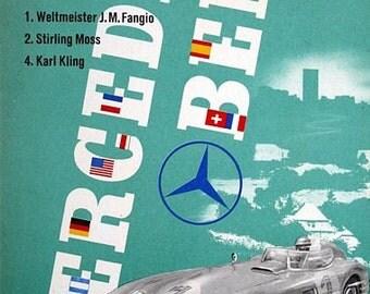 Vintage 1955 Mercedes Benz Eifelrennen Motor Racing Poster  A3 Print