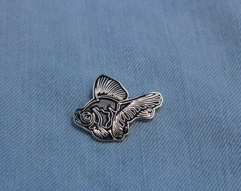 Black Moor Butterfly Telescope Goldfish Enamel Pin