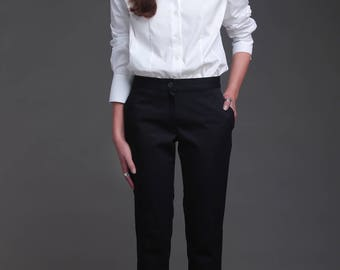 Ankle trousers, classic trousers, cotton trousers, classic trousers, taped design