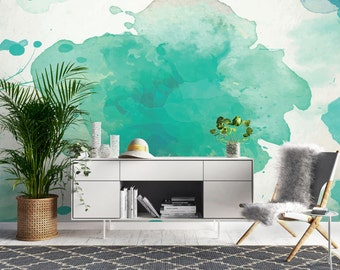 Turquoise Watercolour Wallpaper, Printed, Wall Decor, Removable Wallpaper, Watercolour