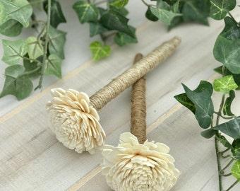 Twine or Jute Sola Flower Pen, Wedding Guest Book Pen, Sola Flower Pen, Jute Sola Pen, Twine Sola Pen, Shabby Chic Pen, Rustic, Ivory Sola
