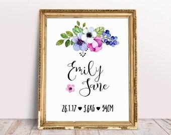 Floral Birth Print, Pink Birth Poster, Custom Nursery Name Art, Nursery Name Poster, Nursery Decor, Printable Birth Print, Nursery Art