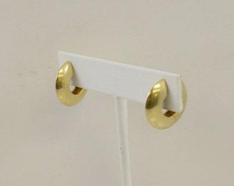 14k Yellow Gold Designer FB Mid Century Modern Hinged Huggie Hoop Earrings