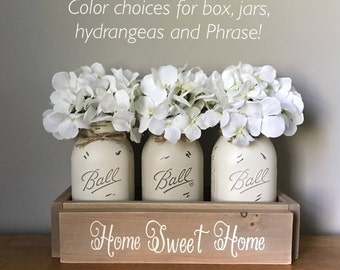 Rustic Table Centerpiece Neutral Toned Mason Jar Dining Room Decor Home Sweet Country