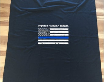 "Shop ""thin blue line flag"" in Bedding"