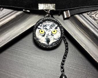 Owl Face Choker Necklace, Halloween Choker, Handmade Bird Jewelry, Owl Jewelry, Owl Choker, Black Velvet Choker, Gifts For Her, Goth Choker
