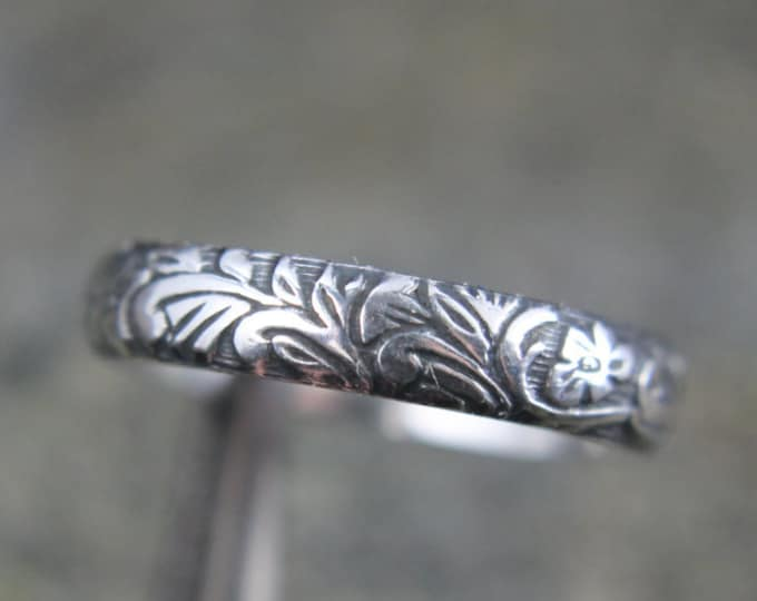 Sterling Silver Floral Vine Promise Ring, Embossed Art Nouveau Pattern Design, Wedding Band for Him or Her, Mens or Ladies Jewelry