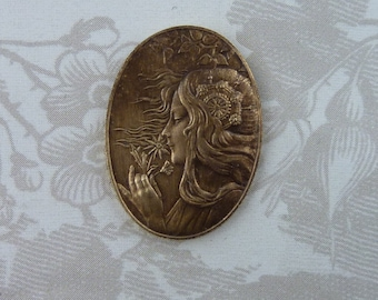Beautiful French Vintage Gypsy Maiden Stamping(1 pc)French Art Nouveau Goddess Brass Stamping/Goddess Stamping/Vintage Goddess Pendant
