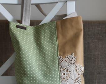 Doily and Polka Dots Shoulder Bag