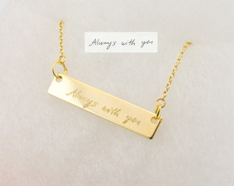 Gold plated actual handwriting necklace, signature necklace, engraved necklace, handwritten necklace, personalized necklace, dainty necklace