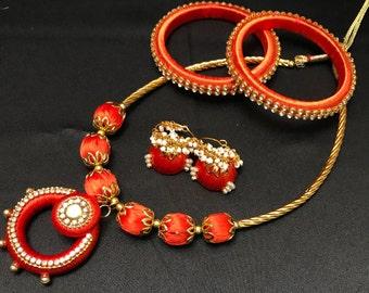 Orange Silk Thread Jewelry Set - Silk Thread Jewelry - Silk Bangles - Indian Jewelry Set - Indian Bridal - Bollywood Jewelry Set - Jhumki -