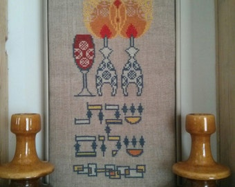 SHABBAT SHALOM challah cover cross stitch pattern. Jewish cross stitch pattern.  PDF - Instant download