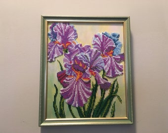 Beads Picture Irises. Picture in a wooden frame.