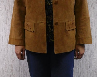 Vintage  leather suede oversized jacket with embroidery pockets.