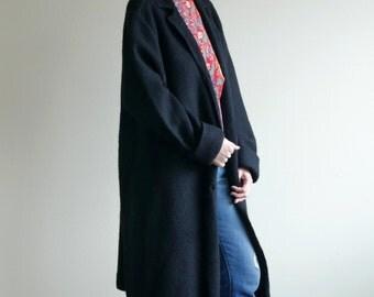 Black Oversized Wool Knit Coat