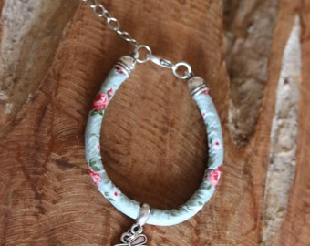 Old green pink flower print kids bracelet charm dragonfly