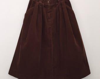 Vintage skirt / bubble skirt / corduroy skirt / 80s skirt / high waisted skirt / brown skirt / cotton skirt