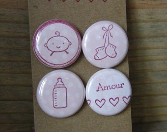 """Lot of 4 badges 1 """"baby love girl series"""
