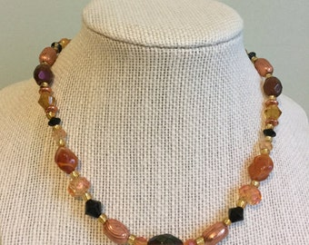 """Upcycled Jewelry """"Copper Beauty"""" Beaded Necklace - Made with Vintage/ Recycled Materials"""