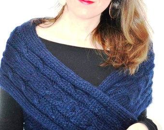 Handknitted scarf, Wool knitted scarves, Winter infinity scarf, Ribbed knit infinity scarf, Chunky knitted scarf, Blue scarf, Transformer