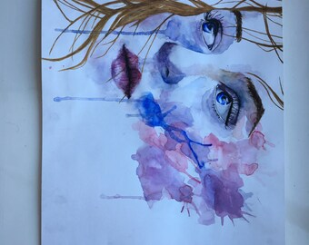 watercolour portraite painting inspired by Agnes Cecile
