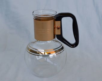 Vintage Silex Glass Mini Carafe Replacement Gold and Clear Glass Coffee Tea Service