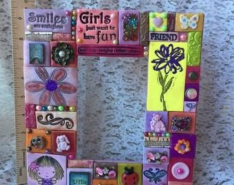 Polymer Clay Frame, Girl's Frame, Children's Frame, Decorated Frame,
