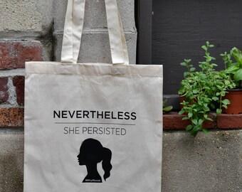 She Persisted Tote Bag, Grocery Bag, Market Bag
